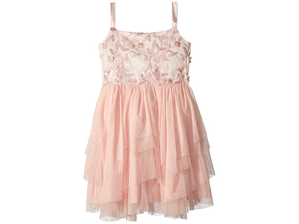 Us Angels 3D Flower Bodice Tutu Dress (Big Kids) (Blush) Girl