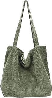Damen Große Kapazität Cord Schultertasche Retro Handtasche Mode Einkaufstasche Täglich Tasche Braun