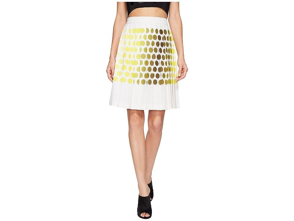 Kitty Joseph Polka Dot Pleated Skirt (Lemon/Creme) Women