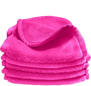 Bay Comfort 5-Pack Microfiber Facial Towels, Washcloths for Face, Great for Removing Makeup, Ultra Soft for Squeaky Clean and Tight Pores. (Hot Pink)