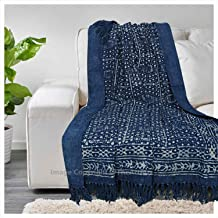 THE ART BOX Cotton Throw Blanket 100% Cotton Indian Blankets Throws Woven Soft Comfy Blankets 72 x 52 inches (Dotted Blue, 72x52 Inch)