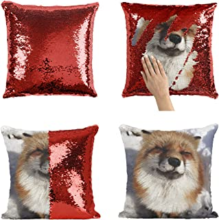 Cute Fox P129 Sequin Pillow, Sequin Pillowcase, Funny Pillow, Two color pillow, Present Pillow, Gift her, Gift him, Magic Pillow, [Cover Only]