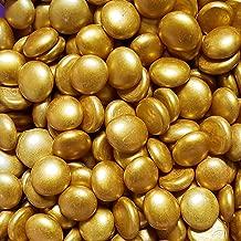 WeJe Medium 17-21mm Glass Gems Flat Back Marbles for Home Decor Art Craft Vase Filler Aquarium -2 LBS Alaska Gold
