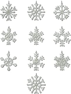 ShalinIndia Handmade 10 Different Light Weight Snowflakes Hanging Iron and Glass,Christmas Tree Party Decorations, 4 Inches