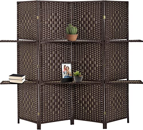 high quality Room Divider Room sale Screen Divider Wooden Screen Folding Portable outlet online sale partition Screen Wood with Removable Storage Shelves Colour Brown ,4 Panel/6 Panel (4 Panel) online