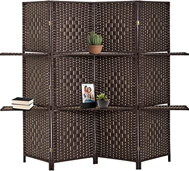 Room Divider Room Screen Divider Wooden Screen Folding Portable partition Screen Screen Wood with Removable Storage Shelves C