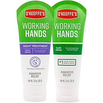 O'Keeffe's Working Hands Hand Cream, 3oz Tube and Night Treatment Hand Cream, 3oz Tube