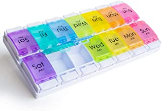 RMS Weekly and Daily Pill Organizer - 7 Day Pill Planner, Dispenser Case for Medication, Vitamin Supplements with Easy Press Open Design and Large Capacity (Twice Per Day)