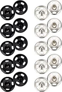 Sumind 100 Sets Sew-on Snap Buttons Metal Snap Fastener Buttons Press Button for Sewing Clothing, Black and Silvery, 10 mm
