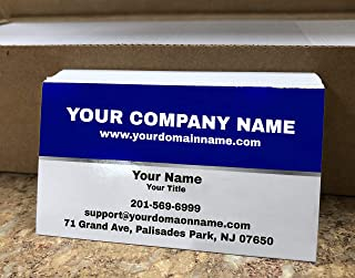 Custom Premium Business Cards 500 pcs Full color - Half Dark Blue (129 lbs. 350gsm-Thick paper), UV coating-Front, Matte finishing-Back, Offset Printing, Made in The USA (Dark Blue)