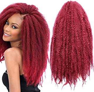 Pack of 3 Afro Kinky Marley Braids Hair Extensions ELEGANT MUSES Kanekalon Synthetic Twist Crochet Braiding Hair 18 inch 100g/pcs (18 inch, bug)