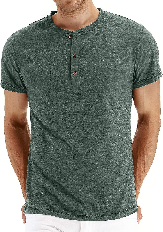Angbater Men's Henley Shirts Casual Short Sleeve T-Shirt Fashion Active Summer V Neck Tee
