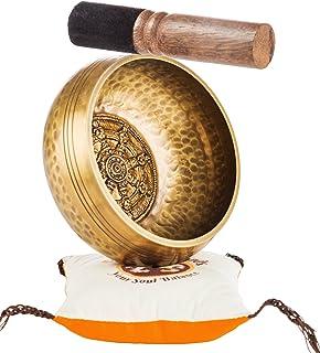 Tibetan Singing Bowl Set By TANTRA SOUNDS - Third Eye Chakra Healing & Meditation Yoga Prayer Bowl with Mallet Cushion & B...
