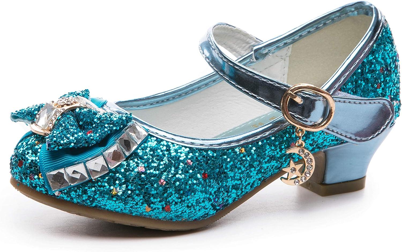 Je-Gou Little Girl's Adorable Sparkle Mary Jane Princess Party Bridesmaids Flower Dress Shoes Glitter Low Heels Princess Pumps Shoe