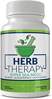 Herb Therapy Sea Moss Capsules (100 Capsules) 1500 milligrams of Organic Raw Irish Sea Moss Plus Bladderwrack Burdock Root Pills USA Made Non GMO