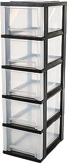 Iris Ohyama, Tour de rangement sur roulettes à 5 tiroirs - Smart Drawer Chest - SDC-305, plastique, noir/transparent, 80 L...