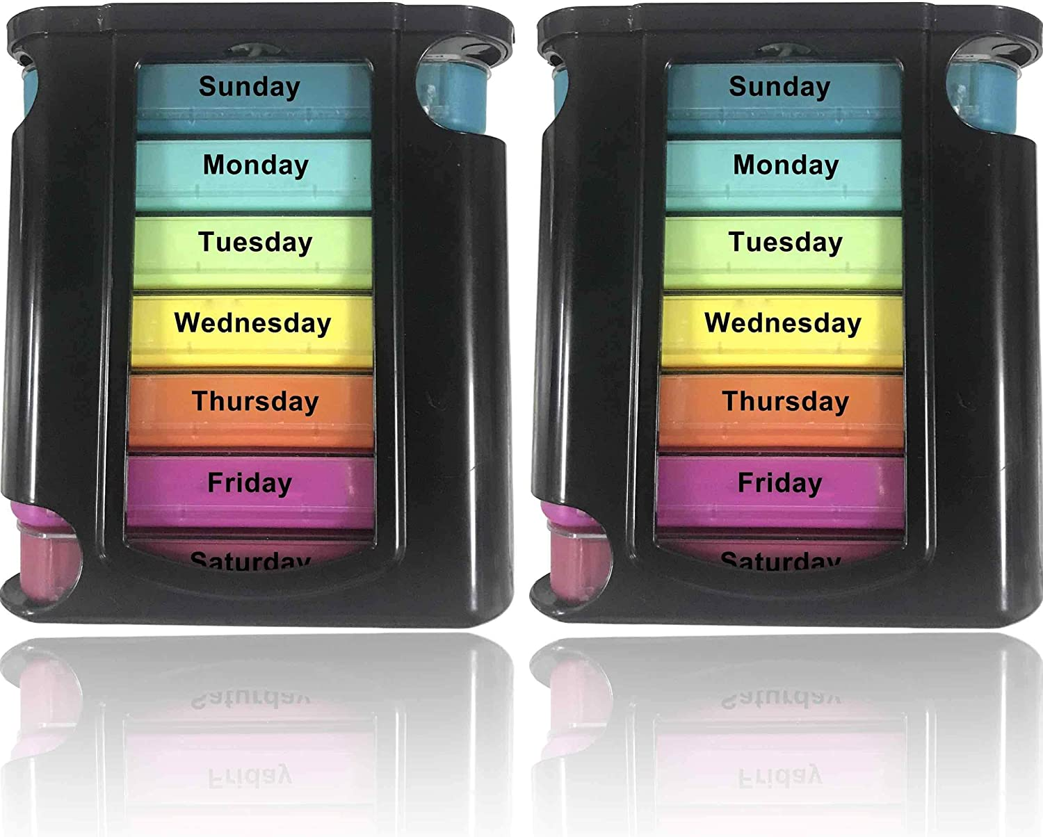 Stackable Excellence Daily Pill Organizer free - 2 Pack Times Day 4 Weekly a Me