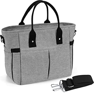 Insulated Lunch Bag Stylish Reusable Meal Prep Cooler Large Tote KIPBELIF Lunch Box for Women with Shoulder Strap, Side Pockets with Zipper Napkin Opening and Water Bottle Holder