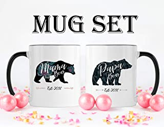 Mama & Papa Bear Mug Set | Mama Bear, Papa Bear, Mama Bear Mug, Papa Bear Mug, Mama and Papa Bear Mugs, Mom Mug, Dad Mug, Dad Coffee Mug Unique Gift Novelty Ceramic Coffee Mug Tea Cup - 15oz White