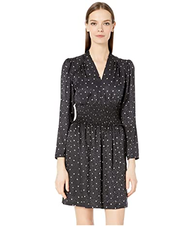 Rebecca Taylor Long Sleeve Painted Dot Dress (Black Combo) Women