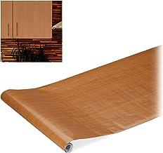1 x plakfolie, dhz, renoveren, meubels & keuken, decoratiefolie zelfklevend, houtlook, PVC, 45x200 cm, bruin