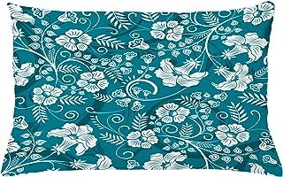ABAKUHAUS Flores Funda para Almohada, Vigas Florales Románticas, Decorativo, Estampado en Ambos Lados, 65 x 40 cm, Gasolina Azul Teal Blanco