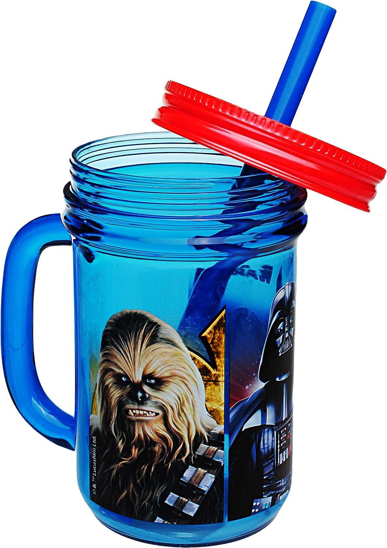 alles-meine.de GmbH Star Wars Trinkbecher mit integriertem Strohhalm 420 ml mit Deckel ohne individuellem Namen