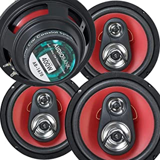 $53 » 4X Audiobank 6.5-Inch 800 Watts Peak Power Handling Total 3-Way Red Car Audio Stereo Coaxial Speakers Rubber Coated Cloth ...