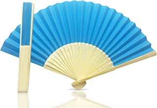 Vruti's Blue Paper Foldable Hand Held Bamboo and Wooden Fan