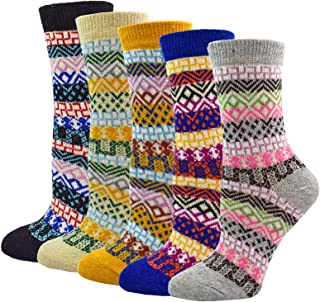 5 Pairs Women Wool Socks Vintage Style Fuzzy Soft Cotton Casual Thick Winter Warm Crew Sock