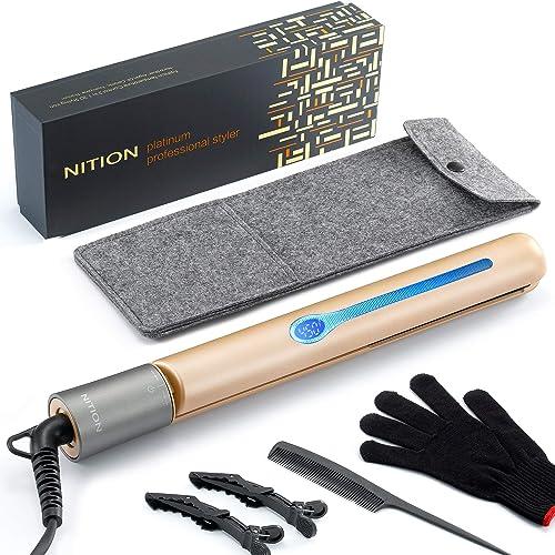 NITION Professional Salon Hair Straightener Argan Oil Tourmaline Ceramic Titanium Straightening Flat Iron for Healthy...