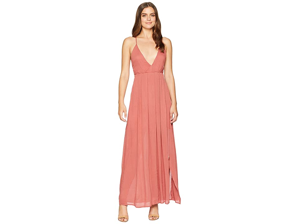 American Rose Jocelynn Maxi Dress with Side Slit (Indie Red) Women
