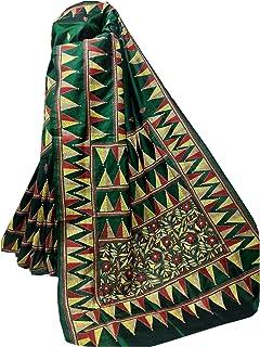 بلوزة ساري نسائية بنغال هندي أخضر من الحرير Bnaglori لحفلات الزفاف الساري كامل الجسم خيط عمل يدوي الكناثا 916a