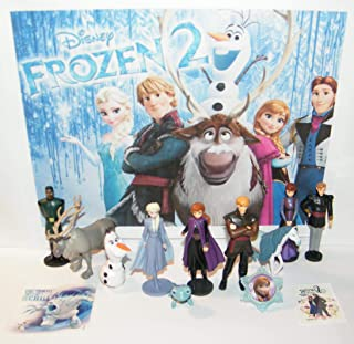 HappiToys Frozen 2 Movie Deluxe Figure Set of 13 Toy Kit with 10 Figures, Sticker, Tattoo and ToyRing Featuring Elsa, Anna, Olaf and Introducing Water Nokk and Salamander Spirits.
