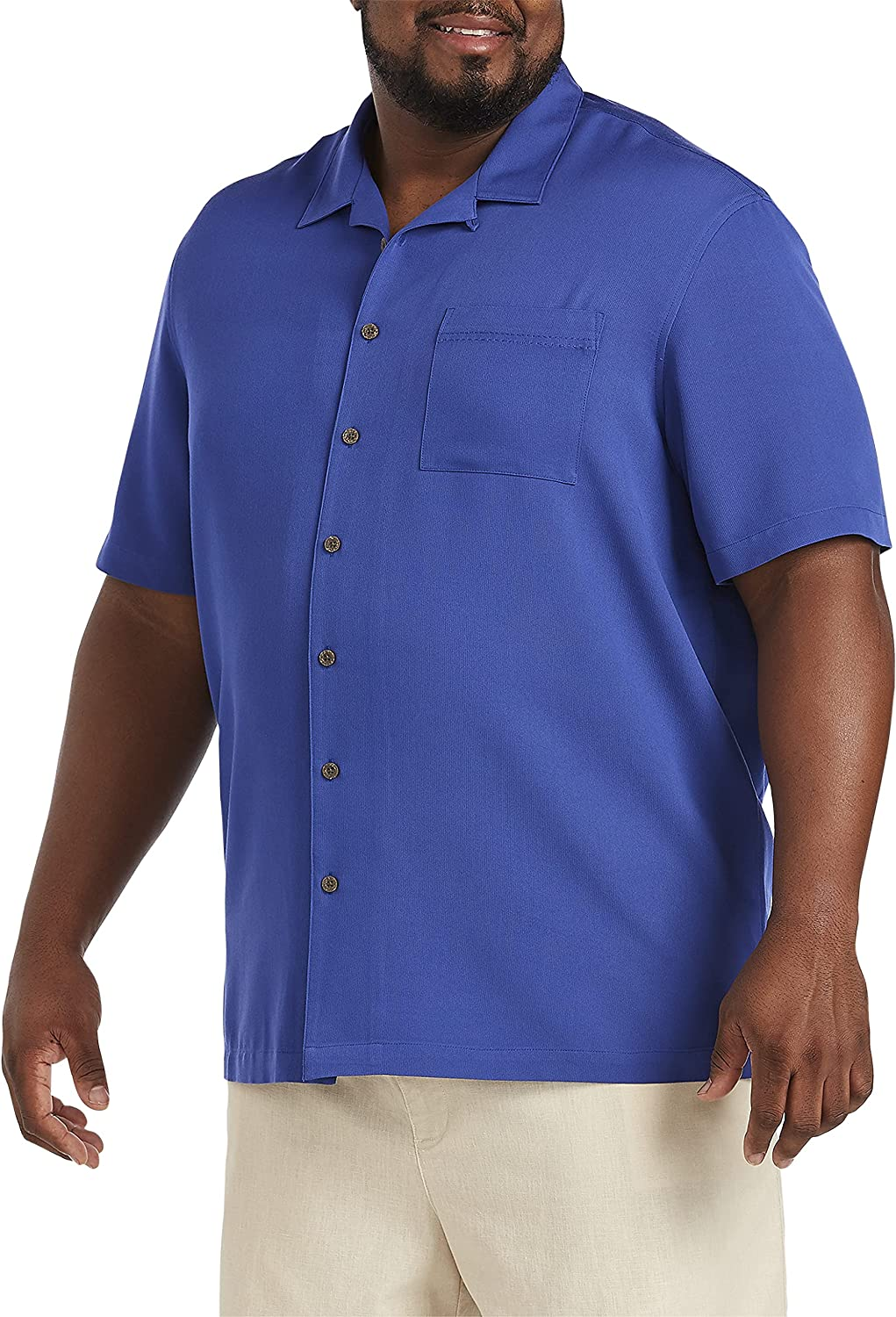 Oak Hill by DXL Big and Tall Solid Camp Shirt, Ceramic Green