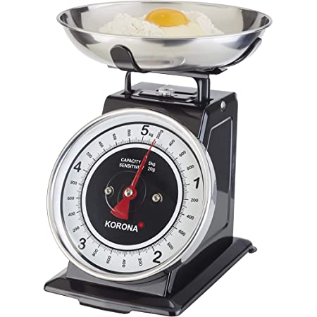 Korona 76150 Retro balance de cuisine TOM | capacité 5 kg, graduation 20 g | plateau de pesée inclus | tare - fonction de pesée supplémentaire | grande balance à affichage complet