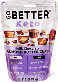 GO BETTER Keto Cups | Milk Chocolate | 1g Net Carb, No Sugar, No Sugar Alcohols, No Artificial Ingredients, No Preservativ...