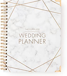 $32 » Wedding Planner Marble Gold - Undated Bridal Planning Diary Organizer - Hard Cover, Pockets & Online Support