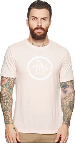 Heathered Distressed Circle Logo Tee