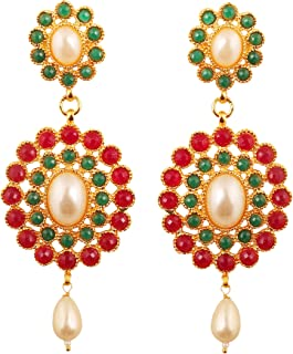 Touchstone Indian Bollywood Austrian Crystals and Kundan looks Designer Dazzling Bridal Jewelry Chandelier Earrings For Wo...