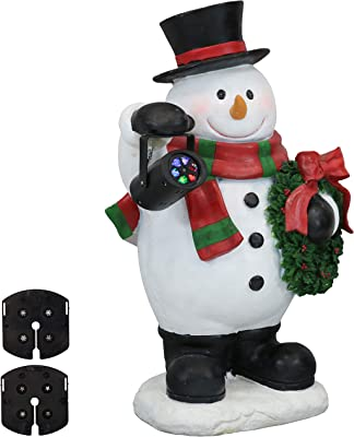 Sunnydaze Indoor Festive Traveling Snowman Statue with Projector Light, Polyresin, 27-Inch