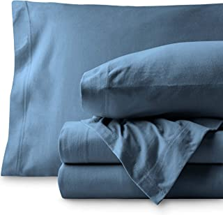 Bare Home Jersey Sheet Set, Ultra Soft, 100% Cotton - Breathable - Deep Pocket (Twin XL, Coronet Blue)