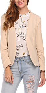 ELESOL Women Casual Thin Open Front Blazer Basic Work Ruched Sleeve Crop Jacket