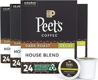 Peet's Coffee Decaf House Blend, Dark Roast, 96 Count Single Serve K-Cup..