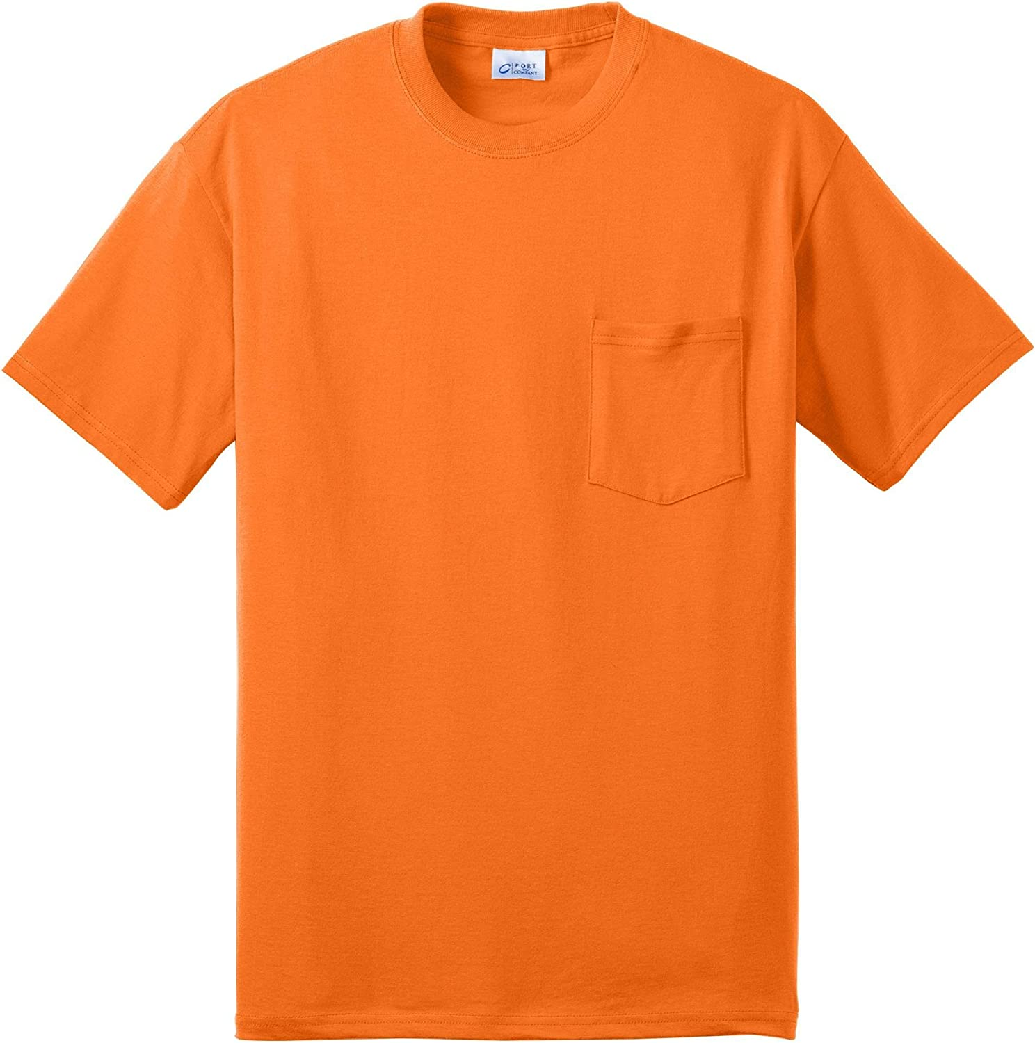 Port & Company Tall 50/50 Cotton/Poly T-Shirt with Pocket>4XLT Safety Orange
