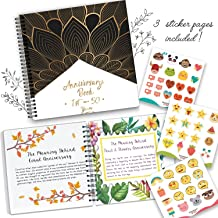 Anniversary Book, A Hardcover Wedding Memory Album to Document Wedding Anniversaries From The 1st To 50th Year. Cute Couple Gifts. Personalized Marriage Presents For Husband & Wife Comes With Stickers