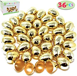 "36 Pieces Shiny Golden Metallic Easter Eggs 2 3/8"" in Gold Color for Filling Specific Treats, Easter Theme Party Favor, Easter Hunt, Basket Stuffers Fillers, Classroom Prize Supplies by Joyin Toy"