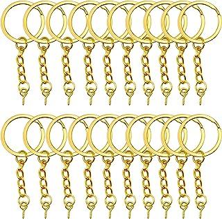 YapitHome 60 Pcs Golden Chain Split Metal Key Rings Key Rings and Chain Jump Rings Key Chains with Screw Eye Pin Suitable ...