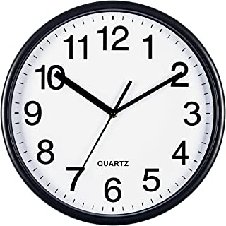 Bernhard Products Black Wall Clock, Large 13-Inch Silent Non Ticking Quartz Battery Operated Round Easy to Read Classroom/Home/Office Clock