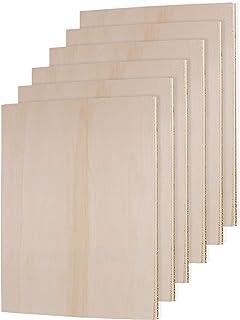 Belle Vous Placas de Madera sin Acabado Pack de 6-27 x 18 x 0,6cm Chapa Madera Rectángulo en Blanco - Maderas Contrachapado Ideal para Manualidades, Decoración del Hogar y Bodas